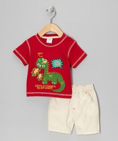 Take a look at this Red 'Silly Dino' Tee & Shorts by Just Too Cute on #zulily today!