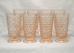 Drinking Glasses Pink Footed Iced Tea Tumblers Cube Cubist set of 8