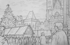 Quick Sketch. 'Prague Christmas Market, 2.' The fairytale backdrop to a packed market. Another sketch drawn from an outside cafe. Kept warm by a hot chocolate. davidasutton.com @davidasutton #drawing #sketch #czech #prague #europe #cafes #christmas #christmasmarket #christmastree #praguechristmasmarket