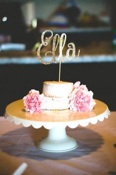 Mini Semi-Naked Cake from a Floral First Birthday Party on Kara's Party Ideas | KarasPartyIdeas.com (19)