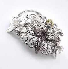 'On gossamer wings' Silver steampunk dragonfly bracelet