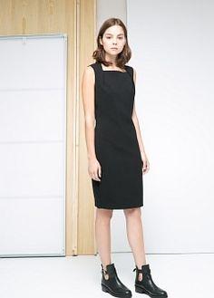 Squared neckline dress, Mango