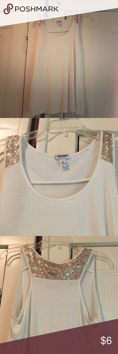 Gold and White Sparkly Old Navy Tank Top Shine and sparkle in this gold and white tank top during your next night out. Old Navy Tops Tank Tops