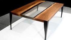 Wood and glass coffee table.