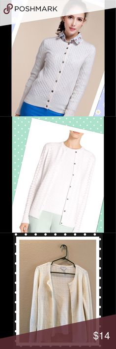 "💖PETITE SOPHISTICTE Cardigan off white chic💖 Lovely light knit cardigan perfect for summer evening walk and dinner.  Bundle with one of my bottoms and save.  Shouldee to bottom 23"" armpit across 17"".  Fits S-M.  Model pic is to offer ideas.  ❣️I am open to all offers BUNDLE & send me your offer🌹 Petite Sophisticate Sweaters Cardigans"