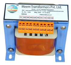 Single Phase Transformers are made accessible in various models, which differ based on horsepower range, taps, mounting type, dimensions, KVA and shipping weight. Our Single Phase Transformers finds application in Telecommunications, Data processing equipment, Transmission lines, Photocopying machines, Tool machines and other electronic equipment