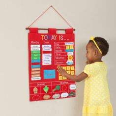 I looked at many different learning wall calendars and chose this one from buy buy Baby.  My son and I enjoy updating the information daily.  Alma's Designs Today Is Red Learning Wall Chart  buybuyBaby.com