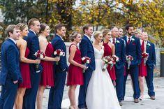ideas for wedding suits men blue groomsmen bridesmaid dresses Red Bridesmaids, Red Bridesmaid Dresses, Wedding Party Dresses, Wedding Suits, Dress Party, Party Wedding, Grey Dresses, Gatsby Wedding, Chapel Wedding