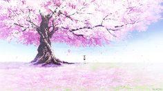 cherry blossom tree anime GIF