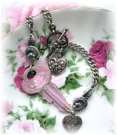Key to your Heart Sterling Charm Bracelet by TheVintageHeart