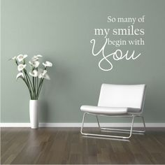Vinyl Wall Decal QuoteSo many of my smiles begin by QuotetheWalls, $20.95