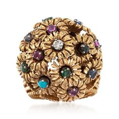 C. 1960. An exuberant creation from designer Jose Hess, this gorgeous .70 ct. t.w. multi-stone floral dome ring from our Estate collection has a sense of fancy-free energy that we find compelling. Slip it on your finger and experience its motion, with round diamonds, emeralds, rubies, sapphires and turquoise beads that revel in their seeming defiance of gravity. Textured and polished 18kt yellow gold ring. <b>Exclusive, one-of-a-kind Estate Jewelry.</b> Free shipping & easy 30-day returns…