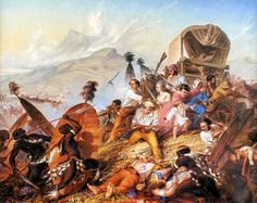 1838 Painting of a Zulu attack on a Voortrekker camp, by Charles Bell - South African Art, Art Galleries in South Africa, South African Artists Charles Bell, South Africa Tours, South Afrika, South African Artists, African History, Kos, Art Gallery, February, Ancient Greece