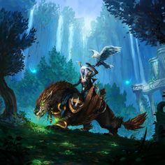 Trust of a Loyal Wolfhawk by JJcanvas Warhammer 40000, Art Warcraft, Blizzard Warcraft, World Of Warcraft Legion, War Craft, Night Elf, Alien Races, Fantasy Map, Final Fantasy