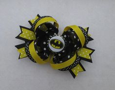 "Batman Hair Bow, Boutique Style Bow with Batman Bottle Cap, Black and Yellow Hair Bow, ""For the Girl who LOVES Batman"" Batman Hairbow"