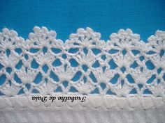 Crochet lace edging, 3 rows staggered shells & V's, flowers: