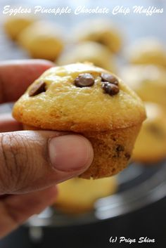 Eggless Pineapple Chocolate Chip Muffins :http://priyakitchenette.com/2015/09/eggless-pineapple-chocolate-chip-muffins/