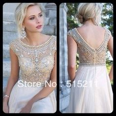 Modest White Chiffon Cap Sleeves Prom Long Dresses With Crystals Beaded 2014 New Women Evening Party Gowns-in Evening Dresses from Apparel & Accessories on Aliexpress.com