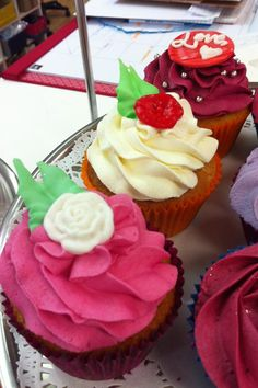 Berry cupcakes with edible leaves