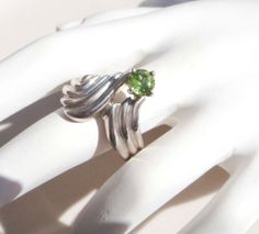 Vintage Sterling Silver Peridot Ring size 8 by PaganCellarJewelry, $35.99