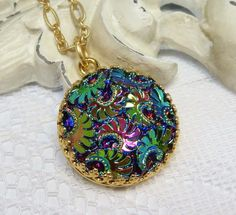 Tapestry Glass Flower Necklace Pendant by dfoxjewelrydesigns