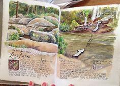 Our annual hike to Lake Alpine by gaykraeger Artist Journal, Artist Sketchbook, Art Journal Pages, Art Journals, Travel Journals, Watercolor Journal, Watercolor Art, Watercolor Illustration, Creepy Drawings