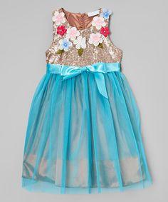 Loving this Blue & Gold Floral A-Line Dress - Toddler & Girls on #zulily! #zulilyfinds