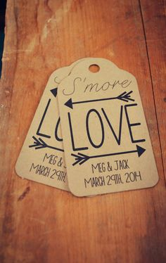 S'more Love Custom Large Favour Tag Set Camping S'more Theme Wedding Birthday Shower Party on Etsy, $14.01