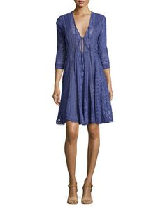 Embroidered 3 4 sleeve tie front dress by rebecca taylor at bergdorf