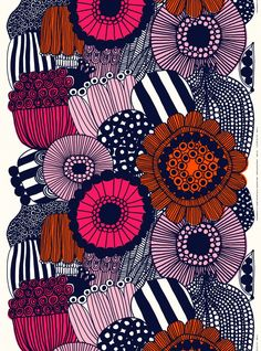 This heavyweight printed cotton fabric has the Siirtolapuutarha patternSiirtolapuutarha (city garden) is a brilliant line drawing which tells a tale of a journey from a bustling city centre to an allotment garden overflowing with flowers and v Marimekko Wallpaper, Marimekko Fabric, Antonio Bernardo, African Textiles, Japanese Patterns, Textile Patterns, Floral Patterns, Textile Artists, Line Drawing