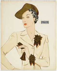 Jewelry design: bracelet and brooch in gold leaf and gems with flower clusters motif drawing by Miriam Haskell, circa 1930 to 1939.