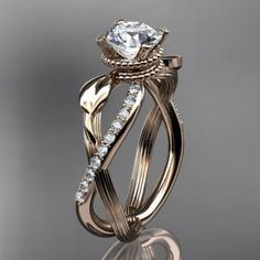 14kt rose gold diamond leaf and vine engagement ring