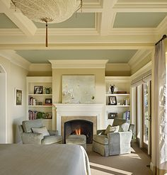 Ceiling color combo and fireplace with colored paint inside the coffered ceiling can add detail.I like ceiling and wall colors. ceiling with blue inside ... & 217 best Color on Ceilings images on Pinterest in 2018 | Home decor ...