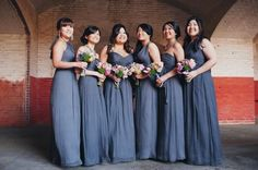 Amsale bridesmaids dresses in steel blue/grey.