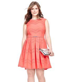 London Times | Coral Dress In Mesh Chevron | Gwynnie Bee