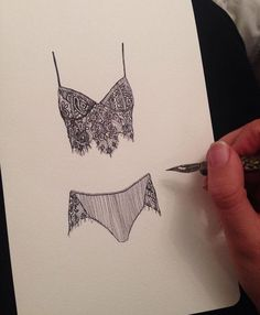 We love these customer sketches! Our Giselle Bra and Panty Set on paper via @bullockellie on Instagram #myFLL - designer lingerie, women's intimates online, sexyiest lingerie *ad