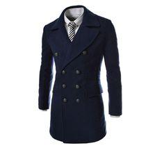 Stylish Turndown Collar Solid Color Slit Back Design Woolen Long Sleeves Pea Coat For Men (BLACK,XL) | Sammydress.com