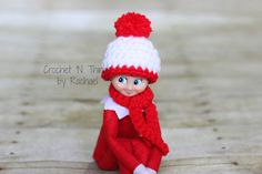 THE ELF ON THE SHELF~Crochet  handmade tiny scarf and hat  by CrochetNThingsbyRM