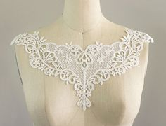 This lovely neckline collar applique is is about 15 across. Please contact us if you need more. International orders always welcome.  http://craftcabaret.etsy.com
