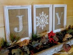 dollar store craft winter burlap frames