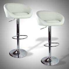 $114 for 2 Barstools Swivel Seat White PU Leather Modern Adjustable Hydraulic Bar Stools | eBay