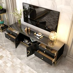 Modern Black TV Stand with Drawers & Doors Gold Media Console for TVs up to 75 Inches White Tv Stands, Black Tv Stand, Home Theater Room Design, Home Theater Rooms, Tv Stand With Drawers, Coffee Bar Home, Entertainment, Tvs, Modern