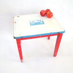 Whimsical Vintage Enamel Top Children's Table; Enamel Top Table; Vintage Enamel Table; Kids table; Red and Blue by PurpleMouseStories on Etsy