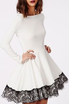 white dress with black lace trim