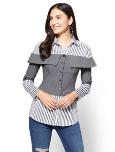 Striped Twofer Top - New York & Company Fashion Sewing, Diy Fashion, Hijab Fashion, Fashion Dresses, Dresses To Wear To A Wedding, Altering Clothes, Blouse And Skirt, Colorful Fashion, Blouse Designs