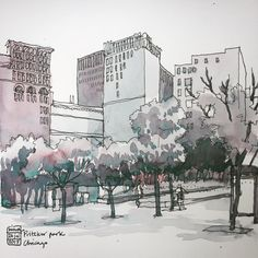 Nina Johansson: Pritzker park, Chicago. Quick one in the morning.  #sketching #drawing #watercolour #teckning…