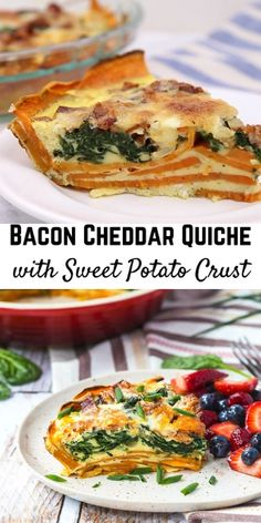 Bacon Cheddar Quiche with Sweet Potato Crust If you haven't made a quiche with a sweet potato crust, it's time to give it a try! This bacon cheddar quiche is a healthier alternative to a traditional quiche, plus it packs more flavor. Sweet Potato Recipes Healthy, Sweet Potato Kale, Sweet Potato Breakfast, Healthy Quiche Recipes, Sweet Potato Nachos, Loaded Sweet Potato, Quiche With Potato Crust, Potato Crust Recipe, Sweet Potato Crusted Quiche