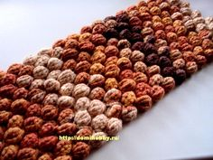 Crochet Puff Scarf Tutorial:  I thought this was a pretty cute look, and then realized the site was in Russian.  No worries, if you have some crochet experience, the photos are so well done that it is understandable no matter what language you speak.  After all, we all speak crochet.