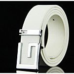 Men's Genuine leather Alloy Waist Belt,Gold Silver Vintage Work Casual Solid 2017 - $5.87
