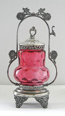 Antique VICTORIAN PICKLE CASTOR with Cranberry Insert ONONDAGA SILVERPLATE